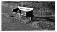 Wooden bench at Willen Lake, Acrylic Print