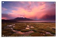 Stormy Sunset and Parinacota Volcano Chile, Acrylic Print