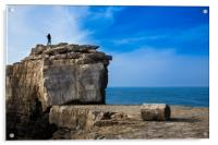 Fisherman casting a rod on the coast cliff rock, Acrylic Print