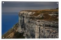 Climbing a coast cliff foggy weather aerial view, Acrylic Print
