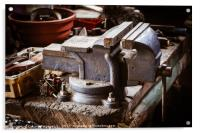 Vintage vise on the wooden table, Acrylic Print