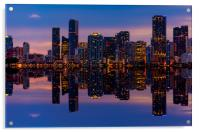 Miami City Downtown district buildings at sunset, Acrylic Print