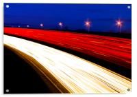 Light trails caused by multiple car headlights and tail lights, Acrylic Print
