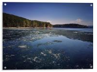 Spring landscape with ice drift on the lake.  , Acrylic Print