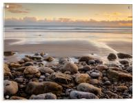 Golden Sunset at Morfa Bychan Beach, Pendine., Acrylic Print