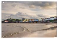 Tenby Harbour and North Beach in Winter., Acrylic Print