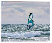 Windsurfing on Newgale Beach., Acrylic Print
