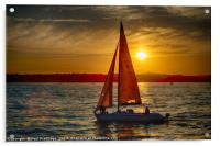 Red Sailed yacht at Sunset, Acrylic Print