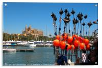 Fhing Boat Floats and Palma Cathedral, Mallorca, Acrylic Print