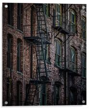 Wrought Iron Fire Escapes in Brick Alley, Acrylic Print