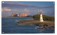 Lighthouse and Resort in Bahamas, Acrylic Print