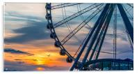 Seagull by Wheel at Sunset, Acrylic Print