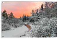 Evening sky over a frozen forest river, Acrylic Print