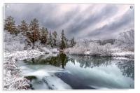A cooling river with the first snow on the shore, Acrylic Print