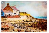 Digital water colour of old cafe in Benllech Bay, Acrylic Print
