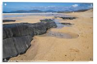 Landscape, Traigh Mhor beach, Finger of rock, Acrylic Print