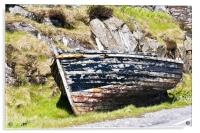 Boat, Wooden dinghy,Abandoned, Rotting, Roadside,, Acrylic Print
