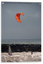 A kite surfer and wind surfer, Acrylic Print
