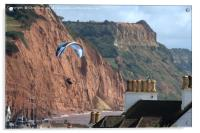Paraglider over Sidmouth , Acrylic Print