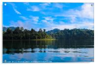 Tropical lake landscape with blue sky background, Acrylic Print
