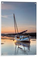 Sunset and a Sailing Boat, Acrylic Print