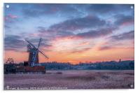 Cley Windmill at Sunset, Acrylic Print