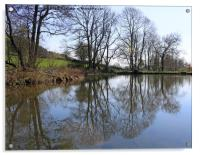 Middle Pond, Lumsdale, Derbyshire, Acrylic Print