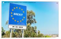 EU Border with Brexit Sign, Acrylic Print