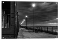 Beach Huts at sunset in Black and White, Acrylic Print