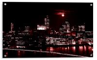 London by night with full moon, Acrylic Print