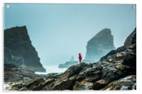 Bedruthan Steps on a foggy day, Acrylic Print
