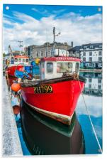 Red Fishing Boat in Plymouth, Acrylic Print