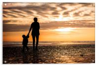 Family in the Worthing Sunset, Acrylic Print