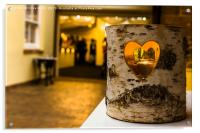 Heart cut into a log with candle inside., Acrylic Print