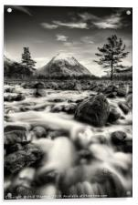 The Alt Fhaolain and Stob na Broige, Glen Etive., Acrylic Print