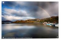 Storm clouds and rainbows over Plockton , Acrylic Print