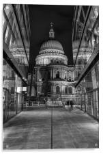 St Pauls Cathedral Street View in Monochrome, Acrylic Print