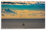 A lone sailing boat at sunrise , Acrylic Print