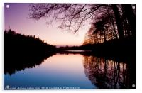 Sweden. Small lake at dusk with trees reflection, Acrylic Print