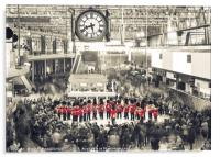 Commuters listen to a military band on Poppy Day, Acrylic Print