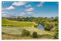 The River Aln and Alnmouth Railway Viaduct, Acrylic Print