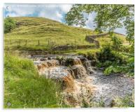 Ettersgill Beck Waterfall in Spate 2, Acrylic Print