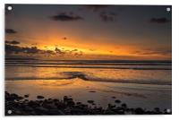 Sunset view as the Tide rolls in at Westward Ho!, Acrylic Print