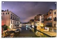 A canal water street with boats in Venice., Acrylic Print