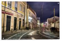 An old stone street in Lisbon at night., Acrylic Print
