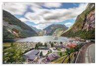 Panoramic view perspective of the Geiranger harbor, Acrylic Print