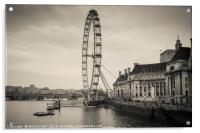 Toned image of London Eye wheel on the river Thame, Acrylic Print