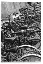Row of bicycles black and white photography, Acrylic Print