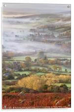 Widecombe-in-the-Moor on a Misty Morning, Acrylic Print
