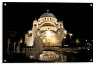 Cathedral of Saint Sava at night, Belgrade, Serbia, Acrylic Print